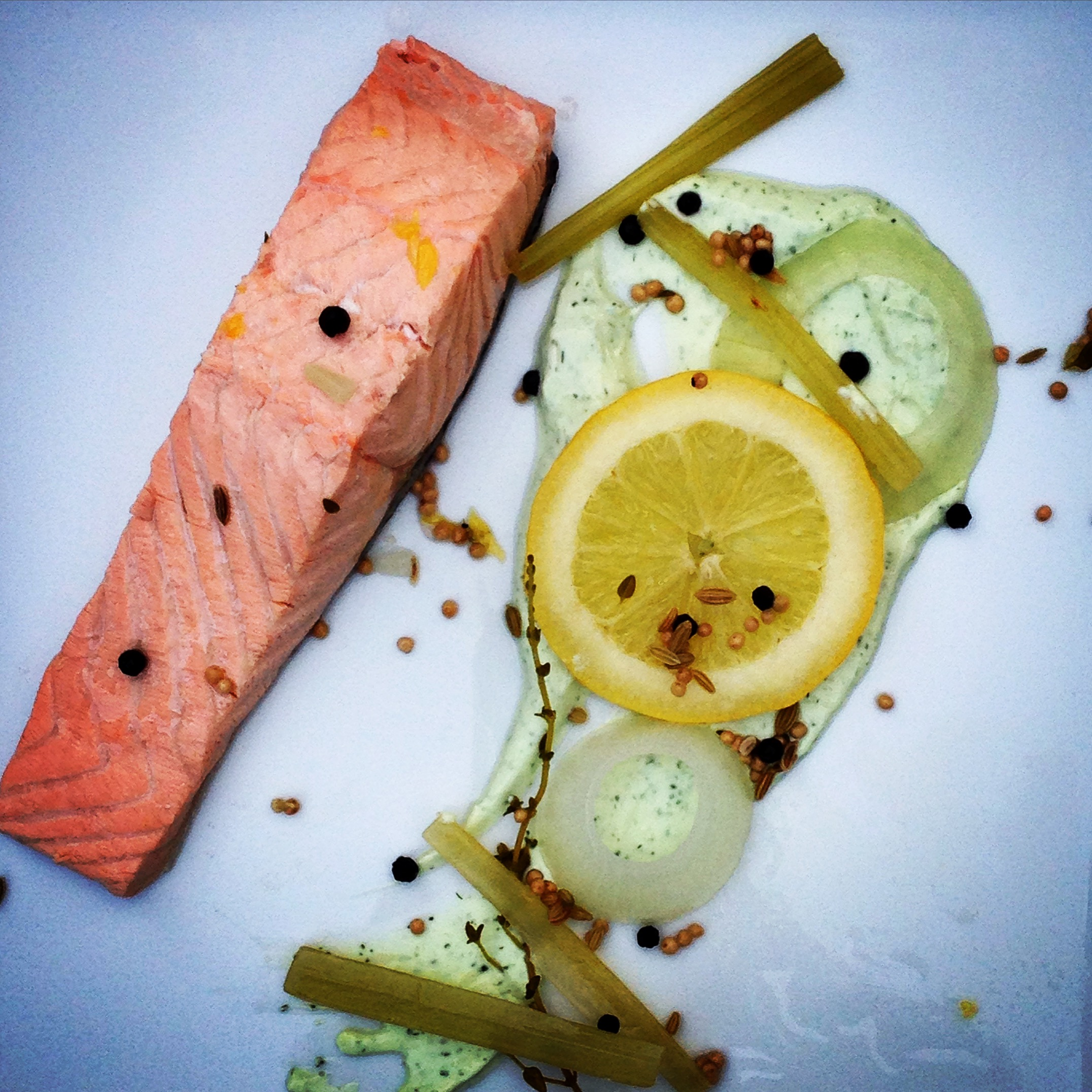 Simple Poached Salmon w/ Dill Yogurt Sauce (+Aromes Restaurant Review)